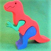 木製恐竜パズル ティラノザウルス(チラノザウルス T-REX)  /恐竜グッズ/ダイナソーパズル/木のおもちゃ/知育玩…
