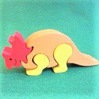 木製恐竜パズル トリケラトプス(とりけらとぷす)      /恐竜グッズ/ダイナソーパズル/木のおもちゃ/知育玩…