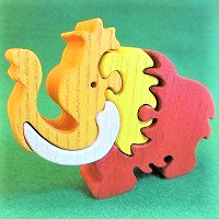 木製動物パズル マンモス(まんもす)  /マンモスグッズ/アニマルパズル/木のおもちゃ/知育玩具/
