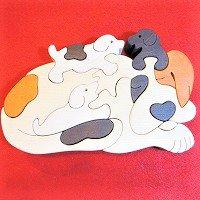 木製動物パズル 大きいイヌ(いぬ 犬)      /イヌグッズ/アニマルパズル/木のおもちゃ/知育玩具/