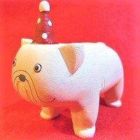 クリスマスぽれぽれ動物 ブルドッグ(イヌ いぬ)     /動物/ポレポレ動物/木製/雑貨/置物/手作り