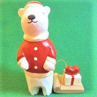 ソリを引くシロクマ(プレゼント) しろくま 白熊  /ぽれぽれ動物/ポレポレ動物/木製/雑貨
