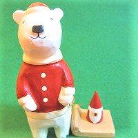 ソリを引くシロクマ(サンタクロース) しろくま 白熊  /ぽれぽれ動物/ポレポレ動物/木製/雑貨