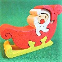 木製動物パズル サンタクロース     /サンタグッズ/アニマルパズル/木のおもちゃ/知育玩具/