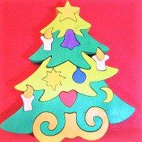 木製動物パズル 大きいクリスマスツリー      /クリスマスグッズ/アニマルパズル/木のおもちゃ/知育玩…