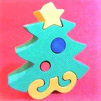 木製動物パズル クリスマスツリー      /クリスマスグッズ/アニマルパズル/木のおもちゃ/知育玩具/