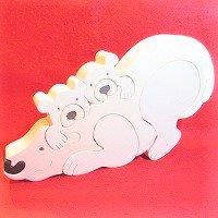 木製動物パズル 大きいシロクマ      /シロクマグッズ/アニマルパズル/木のおもちゃ/知育玩具/