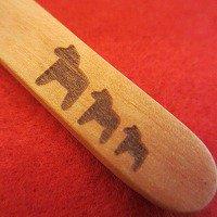 木のダーラナホースバターナイフ3連(馬 ウマ うま)*メール便OK*/木製カトラリー/動物/アニマル