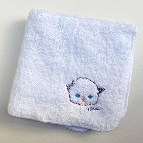 大宮エリー タオルハンカチ 刺繍 白 猫