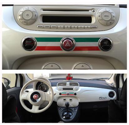 【ネコポスOK】FIAT 500 (フィアット 500) 専用 トリコローレ ストライプ 反射ステッカー
