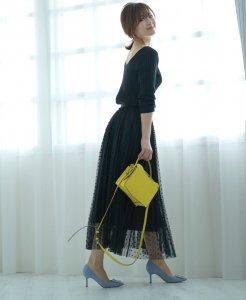 再販!iDea Luce プリーツチュールドットスカート (ブラック)