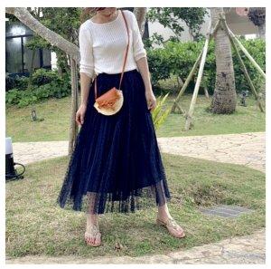 iDea Luce  ドットチュールプリーツスカート(ネイビー)
