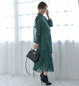 iDea Luce シフォンクラシカルワンピース   (グリーン) 9月予約販売