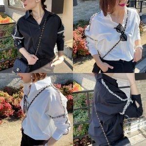 フリンジオーバーシャツ (ブラック、ホワイト)