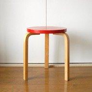 1960年代後半 Alvar Aalto artek Stool60 / アルヴァ・アアルト アルテック スツール No.60 ナチュラル×赤ペイント