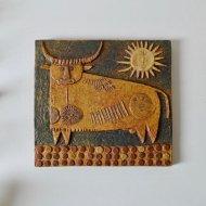 Gustavsberg Stig Lindberg  / グスタフスベリ スティグ・リンドベリ  陶板(牛と太陽)