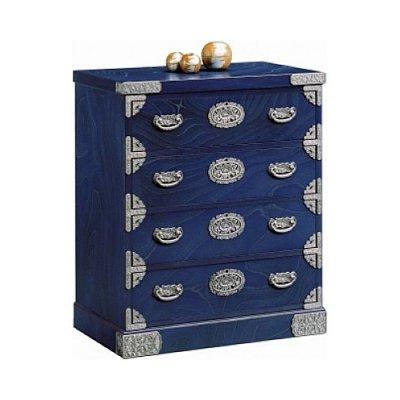 吉野民芸箪笥 NO.43 整理タンス 群青色 銀古美金具