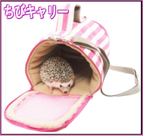 小動物用キャリーバッグ ピンクボーダー