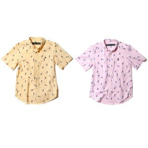 【Back Channel】GIRL PRINT OX B.D. HALF SLEEVE SHIRT / LAST YELLOW M