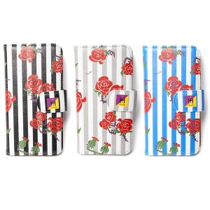 【Tome2H】ROSES STRIPES iPhone CASE(DIARY) / LAST BLACK iPhone7