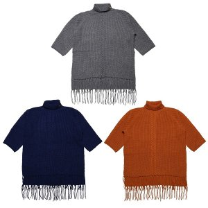 【Tome2H】HIGH NECKED FRINGE KNIT / LAST GRAY