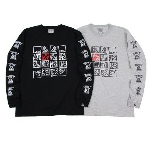 "【DUPPIES】L/S TEE SHIRTS ""FIFTY BLOCKS"" / LAST GRAY L"