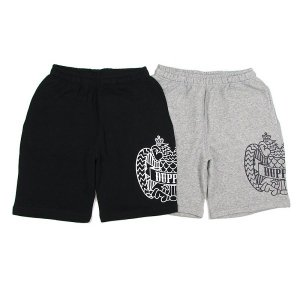 "【DUPPIES】SWEAT SHORTS ""2FACE EAGLE"" / LAST GRAY L"