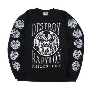 "【DUPPIES】L/S TEE SHIRTS ""D.B.P"" / LAST BLACK XL"