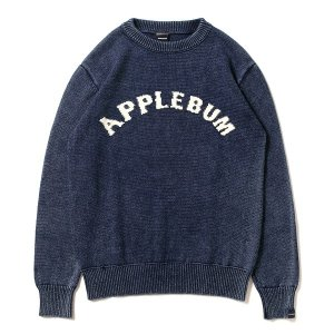 【APPLEBUM】INDIGO ARCH LOGO CREW SWEATER
