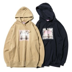【IRIE by irielife】CHECK PATCH LOGO HOODIE / LAST NAVY M