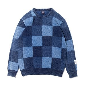【APPLEBUM】BLEACH INDIGO MIX CREW SWEATER
