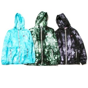 【IRIE by irielife】TIE-DYE NYLON ZIP UP HOODIE / LAST GREEN L