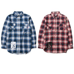 【NINE RULAZ】LONG CHECK SHIRT / LAST BLUE M