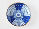 古い印判豆皿(青福)