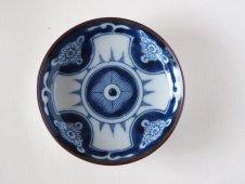 古い印判染付豆皿(十字)