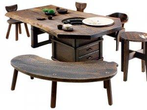 焼桐天然無垢(2〜3枚剥ぎ)囲炉裏テーブル 7尺