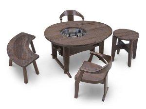 焼桐玉子型囲炉裏テーブル