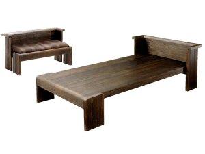 焼桐ベンチベッド(座布団とテーブル付)