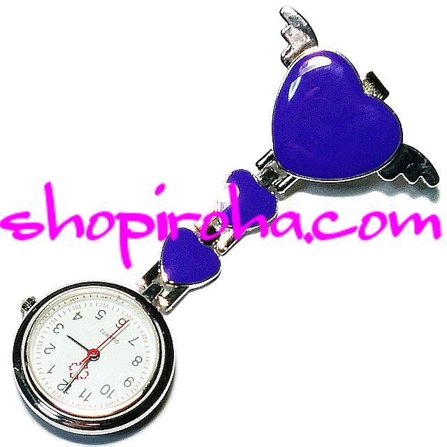 ナースウォッチ エンジェルハート 天使の羽 白衣の天使 青 紫 文字盤が逆さクリップで簡単取り外し看護師さん介護士さん必見の時計shopiroha.com送料…