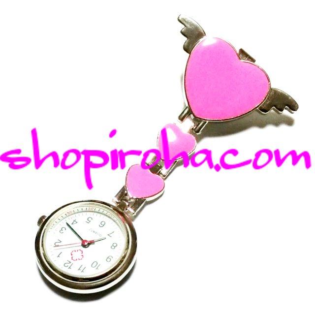 ナースウォッチ エンジェルハート 天使の羽 白衣の天使 pink ピンク 文字盤が逆さクリップで簡単取り外し看護師さん介護士さん必見の時計shopiroha.com送料…