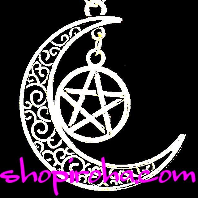 月と星のネックレス 美 愛情 と  陰陽師 魔除けの呪符 ペンタグラム 五芒星 ペンダント ネックレス