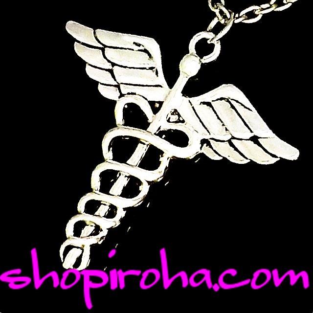 ケーリュケイオン ギリシア神話 ヘルメースの杖 医療機関シンボルマーク ネックレス