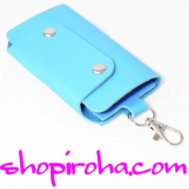 キーケース・メンズ・レディス・パステルカラー・スナップボタン・3つ折りキーケース 6連キーリング+1鍵をスマート収納・PUレザー・水色shopiroha.com送料無料