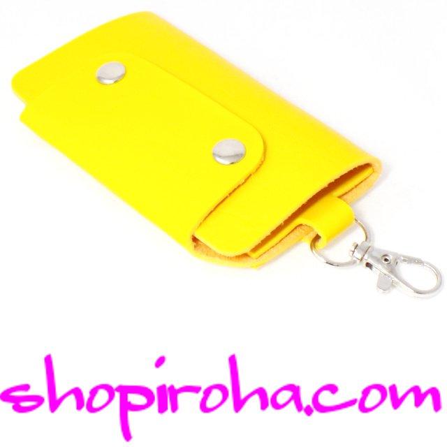 キーケース・メンズ・レディス・パステルカラー・スナップボタン・3つ折りキーケース 6連キーリング+1鍵をスマート収納・PUレザー・黄色shopiroha.com送料無料
