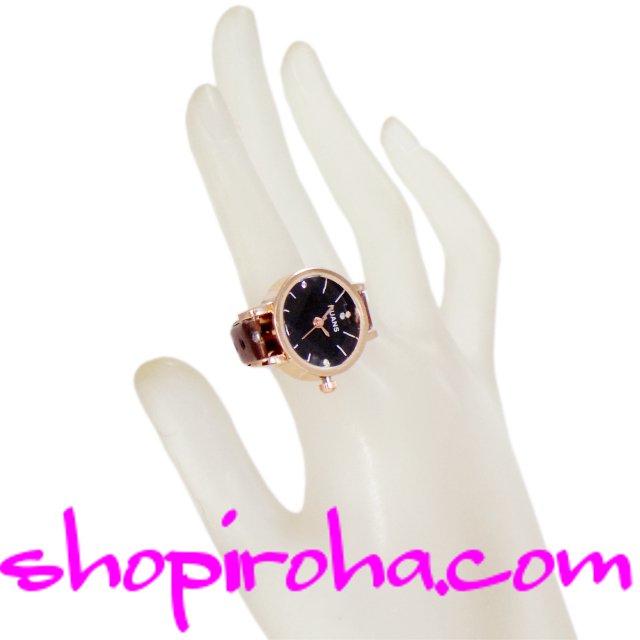 指時計 ベルトタイプ 20mm文字盤黒 shopiroha.comオリジナル 指輪時計 リングウォッチ フィンガーウォッチ 送料無料