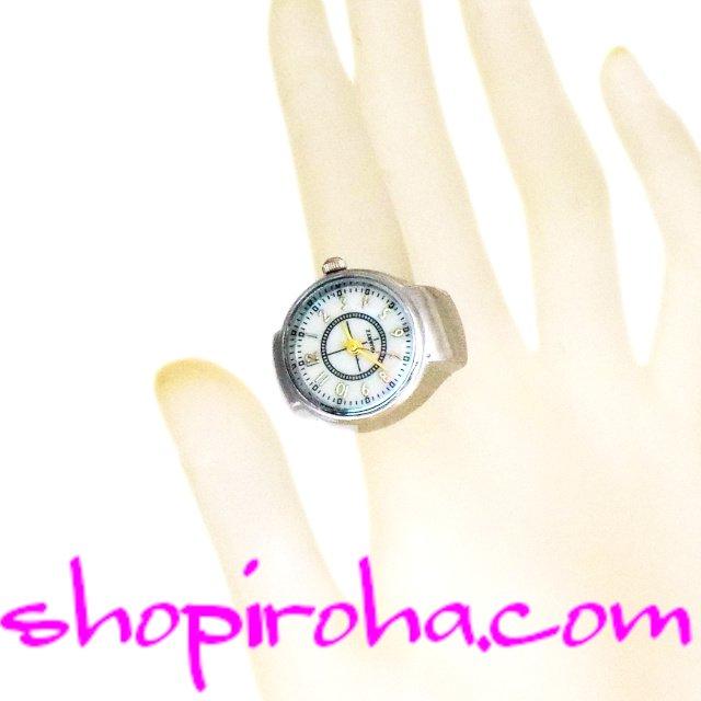 指時計 リングウォッチ フィンガーウォッチ 銀色 piko ピコーツ シンプル オパール色 クロスライン 指輪時計 オシャレな指時計- shopiroha.comショップイロハドットコム,送料無料