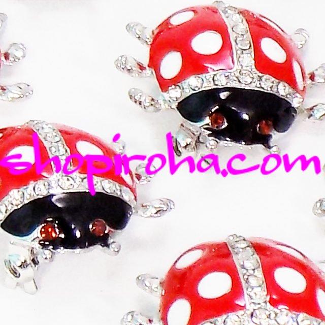幸せを運ぶ てんとう虫 ブローチ LadyBird LadyBug レディーバグ 太陽神 天道虫 テントウムシ 魔除け アミュレット ピンブローチ キラキラ アクセサリー ピンバッジ shopiroha.com ショップいろは 送料無料