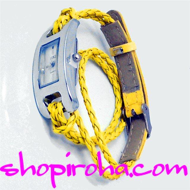 三つ編み・レザーベルト・2連ブレスレットのカラフル腕時計・ブレスウォッチ