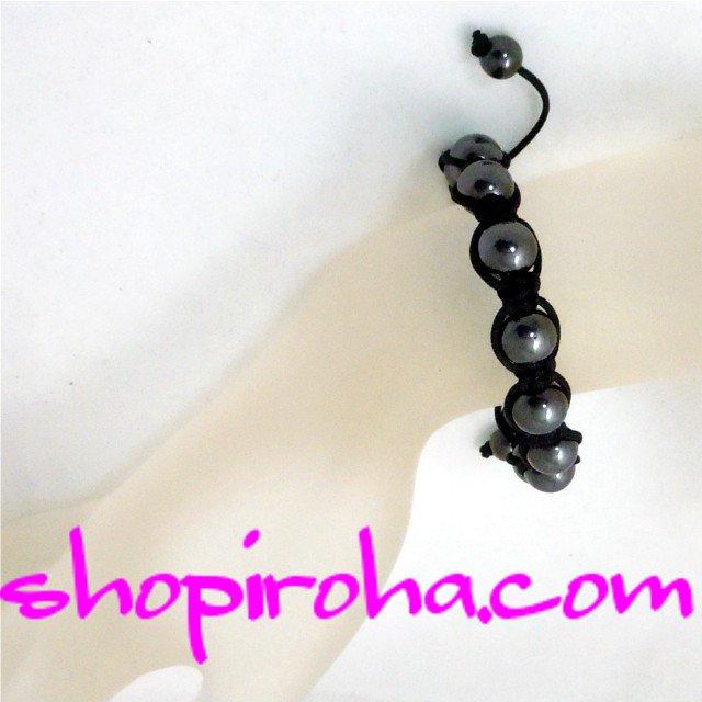 ブラック・ダイヤの輝き、ブラック・ヘマタイト・シャンバラブレス・パワーストーン・漆黒の・ブレスレット ビーバー ジャスティンファン必見のアクセサリー