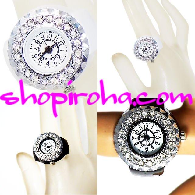 PIKOさんのような指輪時計 指時計 リングウォッチ リングクロック キラキラ輝くパヴェ指輪時計 リングウォッチ フィンガーウォッチ パヴェリング ブラックpiko ピコーツ shopiroha.com 送料無料